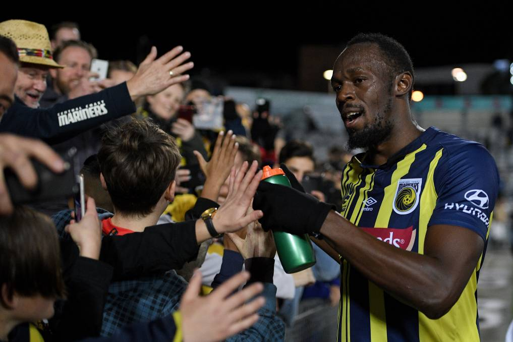 Usain Bolt is set to be a fan favourite when he takes to Campbelltown Sports Stadium on Friday night. Picture: Dan Himbrechts/AAP