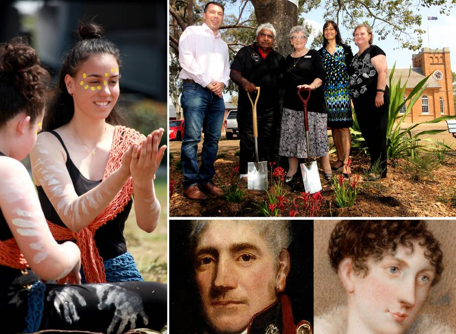 TOWARD 200: Tori Duckett with Wiritijiribin Dance Group, Mayor George Brticevic, Uncle Ivan, historian Kay Hayes, council GM Lindy Deitz and Aunty Glenda...and founder and namesake, Lachlan Macquarie and Elizabeth Campbell.