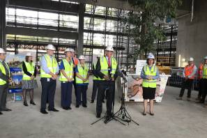 Milestone: Premier Gladys Berejiklian attended a topping out ceremony to mark the Campbelltown Hospital redevelopment reaching its highest point.