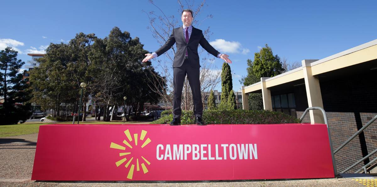 Campbelltown mayor George Brticevic with the new council brand. Picture: Chris Lane