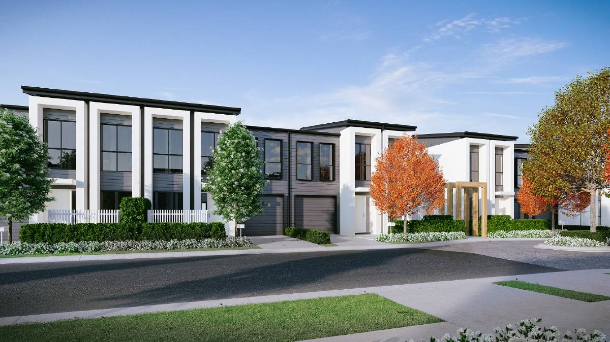 New: An artist's impression of the terrace homes which could be located on the controversial block of land adjacent to Mount Annan Market Place.