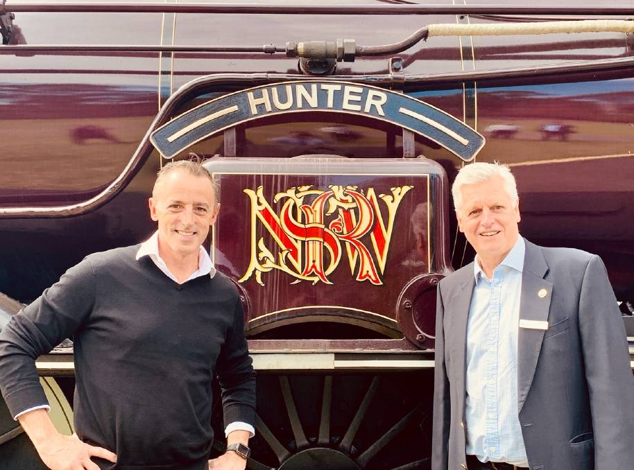 Destination NSW's chief executive Steve Cox and Transport Heritage chairperson Rob Mason. Picture: Supplied