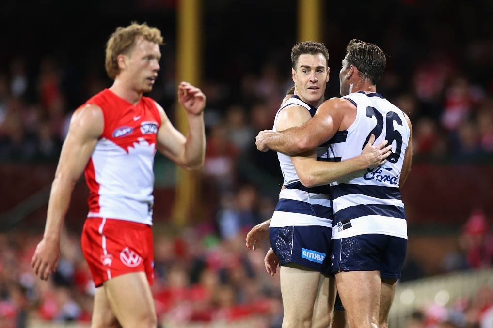 POOR CALL: Geelong's Jeremy Cameron fell victim to a poor umpiring decision in his team's clash against the Sydney Swans on Saturday. Photo: Cameron Spencer/Getty Images